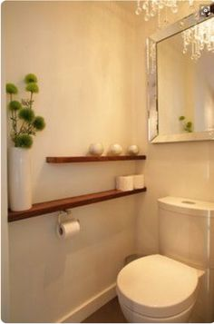 Contemporary Art Websites shelf beside the toilet wall to wall instead of behind shelf above half bath or small bath design