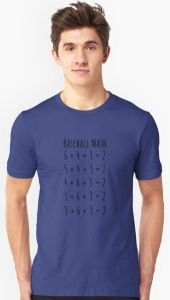 """Baseball Math T-Shirt features addition problems like """" 6 + 4 + 3 = 2 """" all do not actually equal 2 but a baseball fan knows they are all double plays. Double Play, Cool T Shirts, Colorful Shirts, Shirt Style, Baseball, Math, Mens Tops, Fashion, Moda"""
