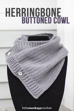 Make it with new Vanna's Style! Herringbone Buttoned Cowl by Little Monkeys Crochet.