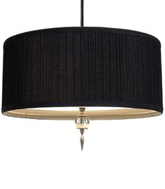 """Special Order Design: Designer 20"""" Dia Black Pleated Fabric & Crystal Finial Pendant * Custom Orders Welcome"""