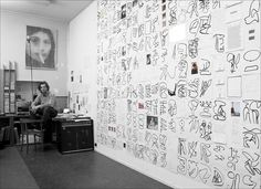 Sef Berkers. Archive. Sitting in my studio with studio wall: Works made on May 10, 12, and 14, 2001. East-Indian ink, pen, pencil on paper, photos, diary fragments, polaroids, postcard, photocopy. The works are mounted chronologically on the wall from top to bottom and from left to right. Monochrome Color, Polaroids, Abstract Landscape, Photo Wall, Indian, Ink, Studio, Artwork, Archive