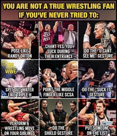 I've done all No lie, I do all of them everyday XD - wwe & wwf News Wrestling Quotes, Watch Wrestling, Wrestling Wwe, Wwe Quotes, Golf Quotes, Wwe Facts, Wwe Funny, Funny Jokes, The Shield Wwe