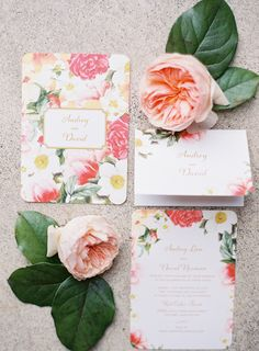 #vintage, #garden-rose, #stationery, #rose, #romantic  Photography: Coco Tran - www.cocotran.com/contact  View entire slideshow: Pretty Patterned Wedding Details on http://www.stylemepretty.com/collection/1487/