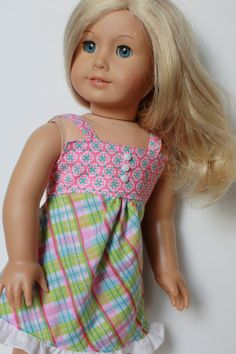 Pink Blue Green White SUMMER DRESS for American by closet4chloe, $15.00