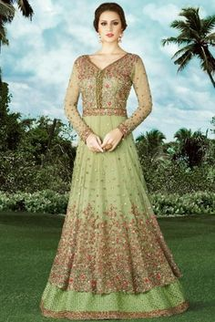 Net Embroidered Anarkali Suit In Pistachio Green Colour. Abaya Style, Lehenga Style, Designer Anarkali, Designer Salwar Suits, Costumes Anarkali, Anarkali Suits, Abaya Fashion, Indian Fashion, Women's Fashion