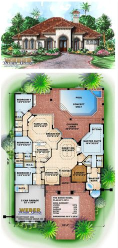 F1-3274 - Bimini - Waterfront house plan. 4 bedrooms, 4 baths, 2 car garage. More waterfront house plans https://www.weberdesigngroup.com/home-plans/style/waterfront-house-plans/