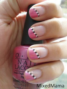 Pink with black and white dots
