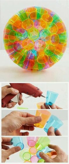 Make a Colorful Lampshade with plastic cups - would be fun to use in a light table area as well as for exploring on the light table