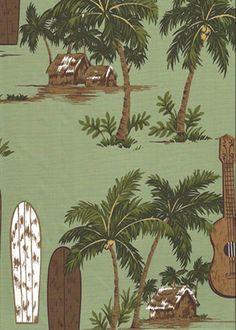 Vintage Tropical Hawaiian Fabrics Surfboards, ukulele, palm trees, and hula huts on a cotton reversible sage apparel fabric. More at BarkclothHawaii.com