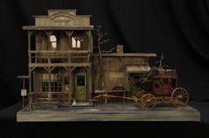 """""""Deadwood Stage at Chugwater Station"""" Roy Simpson, Lubbock, TX Train Miniature, Miniature Houses, Miniature Dolls, Barbie Furniture, Dollhouse Furniture, Fairy Houses, Village Houses, Doll Houses, Popsicle Crafts"""