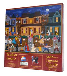 A fun Halloween-themed puzzle. Trick or Treat 2 with 500 pieces by D.R. Laird. $12.