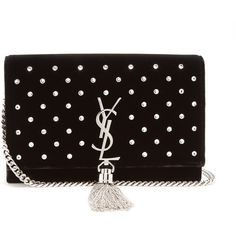 Saint Laurent Kate small velvet cross-body bag (4,740 PEN) ❤ liked on Polyvore featuring bags, handbags, shoulder bags, black silver, chain crossbody, chain purse, yves saint laurent purse, clear shoulder bag and clear purse