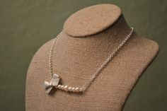 Juliet: Beautiful Bride or Bridesmaid Pearl Necklace -  Ivory Pearls and Chain with Oatmeal Ribbon Bow - Something Blue