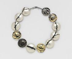 "Suzan Rezac. Jewelry. Inlay. ""A Dozen Roses"" . Reversible necklace. Brass, shakudo, 18K gold, shibuichi, silver."
