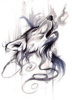 Howling Wolf black&white aquarelle tattoo                                                                                                                                                      Más