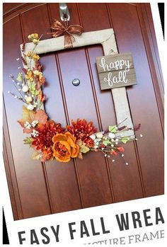 This fall wreath is so simple, yet absolutely gorgeous! It's made from a thrifted picture frame, which makes this a super cheap craft project! #Picture #Wreath #Frame #Easy #Fall crafts to make and sell ideas Easy DIY Fall Wreath from a Picture Frame 37+ Crafts To Make And Sell Ideas 2020