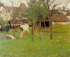 """""""Peasant Laying Her Linen"""" - Louis Welden Hawkins (1849-1910)"""