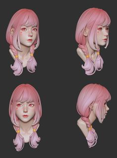 Hi , this is a head practice I did with ZB. Polypaint in ZB is used for coloring. I hope you like it! 3d Model Character, Female Character Design, Character Modeling, Character Design References, Character Design Inspiration, Character Concept, Character Art, 3d Modeling, Character Illustration