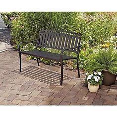 Garden Furniture Patio Bench Black Durable Metal Outdoor Use 500 lbs Maximum