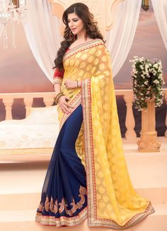 Fabulous Navy Blue and Yellow #Saree - Order online @ http://www.yourdesignerwear.com/fabulous-navy-blue-and-yellow-saree-p-54293.html