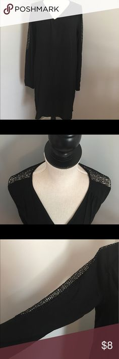 Ladies Long Sleeved Black Dress Excellent preowned condition. Dress has lace detail along the sleeves. Dress is size S but could definitely be worn by a size M also. Old Navy Dresses Long Sleeve