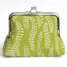 lime green creeper linen coin purse