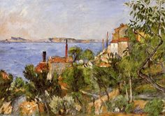 Paul Cezanne >> Landscape, Study after Nature (aka The Seat at L'Estaque)     (Oil, artwork, reproduction, copy, painting).