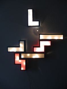 Lighting: Cool Wall Lamp Tetris Design For Outstanding Lighting ...