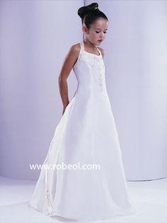 Robe De Fille De Cortège Blanc En Satin Elastique