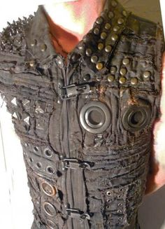 The Wrath Vest Jacket Top Apocalyptic Distressed Diesel Punk Gothic Raider Diesel Rivethead Men and Women Sizing by AtomicKiss for $180.00 #zibbet