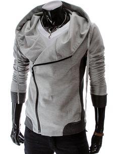 Slim Fit Unbalanced Big Hood Jacket