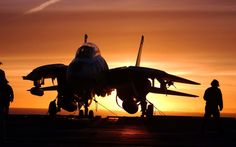 tomcat on deck at sunset