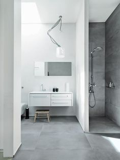 Shower with no door or curtain - LOVE also like the adjustable height for the shower head, that's a MUST HAVE. Not digging the left side of the bathroom