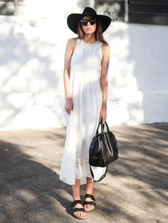 Minimal + Classic: White summer dress with black accessories