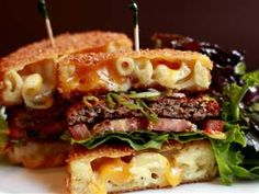 Mac Attack Burger? Make this sensation at home. Man, that looks good. Too lazy to make it...enjoy, overachievers!