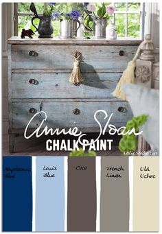 """Vintage Chest in Hues of Louis Blue"": Napoleonic Blue, Louis Blue, Coco, French Linen, Old Ochre"