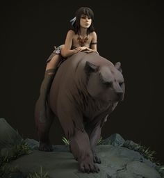 Bear rider, Maria Panfilova on ArtStation at https://www.artstation.com/artwork/KVwQy