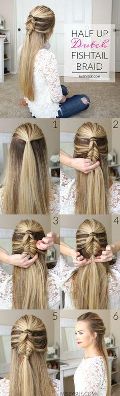 Half-up dutch fishtail braid hairstyle tutorial