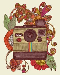 Out of sight! by Valentina. #illustration #polaroid