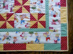 Patchwork Baby Quilt Pinwheels Vintage @forgetmenotquilteds