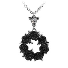 Alchemy Gothic Ring O' Roses Pendant Necklace (Silver/Black). Perfect Gift For Girlfriend, Victorian Engagement Rings, Gothic Rings, Thing 1, Tree Of Life Necklace, Black Jewelry, Rose Earrings, Silver Pendant Necklace, Alchemy