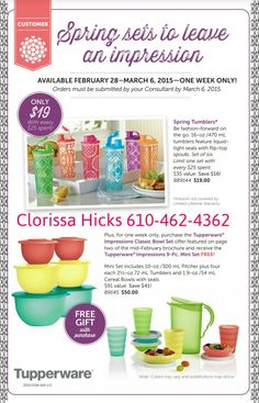One week sale.  Ends March 6th www.my.tupperware.com/Clorissa