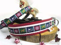 Hundehalsband Winterdream,rot,mit Wollfilz - Halsband, Geschirr, Leine selbst gestalten - peppetto.de