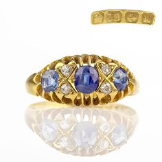SOLD Antique Ring  1909 Edwardian Antique Sapphire Ring 18k