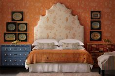 Introducing the first ever collaboration from global brand, Andrew Martin, and award-winning interior designer Kit Kemp. The Kit Kemp for Andrew Martin Orange Wallpaper, Fabric Wallpaper, Autumn Interior, King Size Headboard, Relax, World Of Interiors, Carpet Styles, Yellow Fabric, Carpet Colors
