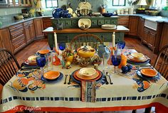 Fiesta® Cinco de Mayo tablescape using Sapphire, Paprika and Tangerine | thelittleroundtable.com