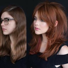 Warning: These hair transformation before & after photos might cause you to book a haircut or color transformation appointment with your stylist ASAP! - Mind Blowing Hair Transformation Before & After Photos - Gallery Layered Haircuts With Bangs, Long Hair With Bangs, Hairstyles With Bangs, Short Bangs, Thick Hair Bangs, Long Layers With Bangs, Long Layered Cuts, Long Punk Hair, Red Hair Bangs