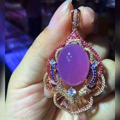 Purple jade and gemstone pendant