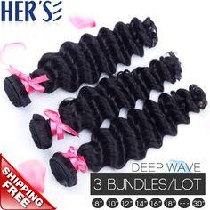 $102.00 (Buy here: https://alitems.com/g/1e8d114494ebda23ff8b16525dc3e8/?i=5&ulp=https%3A%2F%2Fwww.aliexpress.com%2Fitem%2FQueen-Hair-Products-Brazilian-Deep-Wave-Virgin-Hair-Weave-Bundles-7A-Grade-Unprocessed-Human-Hair-3Pcs%2F32350382321.html ) HERS HAIR Brazilian Deep Wave Virgin Hair Brazilian Deep Curly Weave Bundles,Loose Deep Wave Brazilian hair Extensions Body Wave for just $102.00