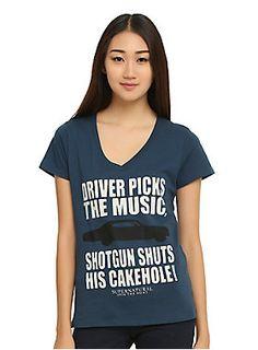 "<p>Navy V-neck tee from <i>Supernatural</i> with large car & text design that reads ""Driver Picks The Music, Shotgun Shuts His Cakehole!""</p>  <ul> <li>50% cotton; 50% polyester</li> <li>Wash cold; dry low</li> <li>Imported</li> <li>Listed in junior sizes</li> </ul>"
